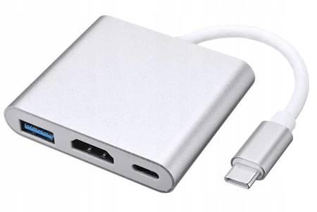 PRZEJŚCIÓWKA ADAPTER 3W1 HUB USB-C HDMI 4K MACBOOK